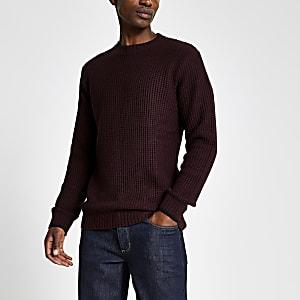 Donkerrode gebreide slim-fit pullover met wafeldessin