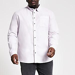 Big and Tall – Lila, langärmeliges Hemd