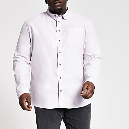 Big and Tall lilac long sleeve shirt