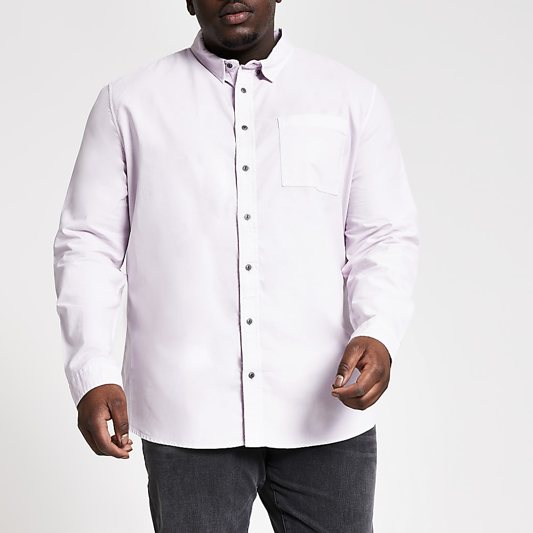 Big and Tall lilac long sleeve shirt