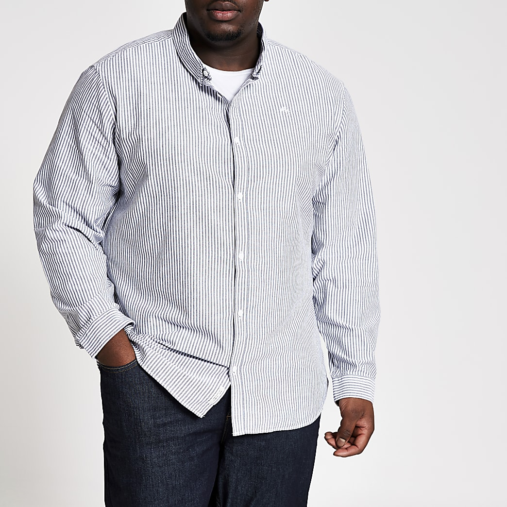 Big and Tall grey stripe slim fit shirt