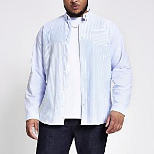 Big and Tall- Blauw gestreeptslim-fit overhemd met kleurvlakken