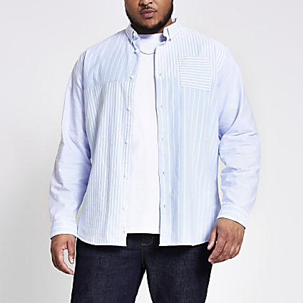 Big and Tall blue stripe blocked slim shirt