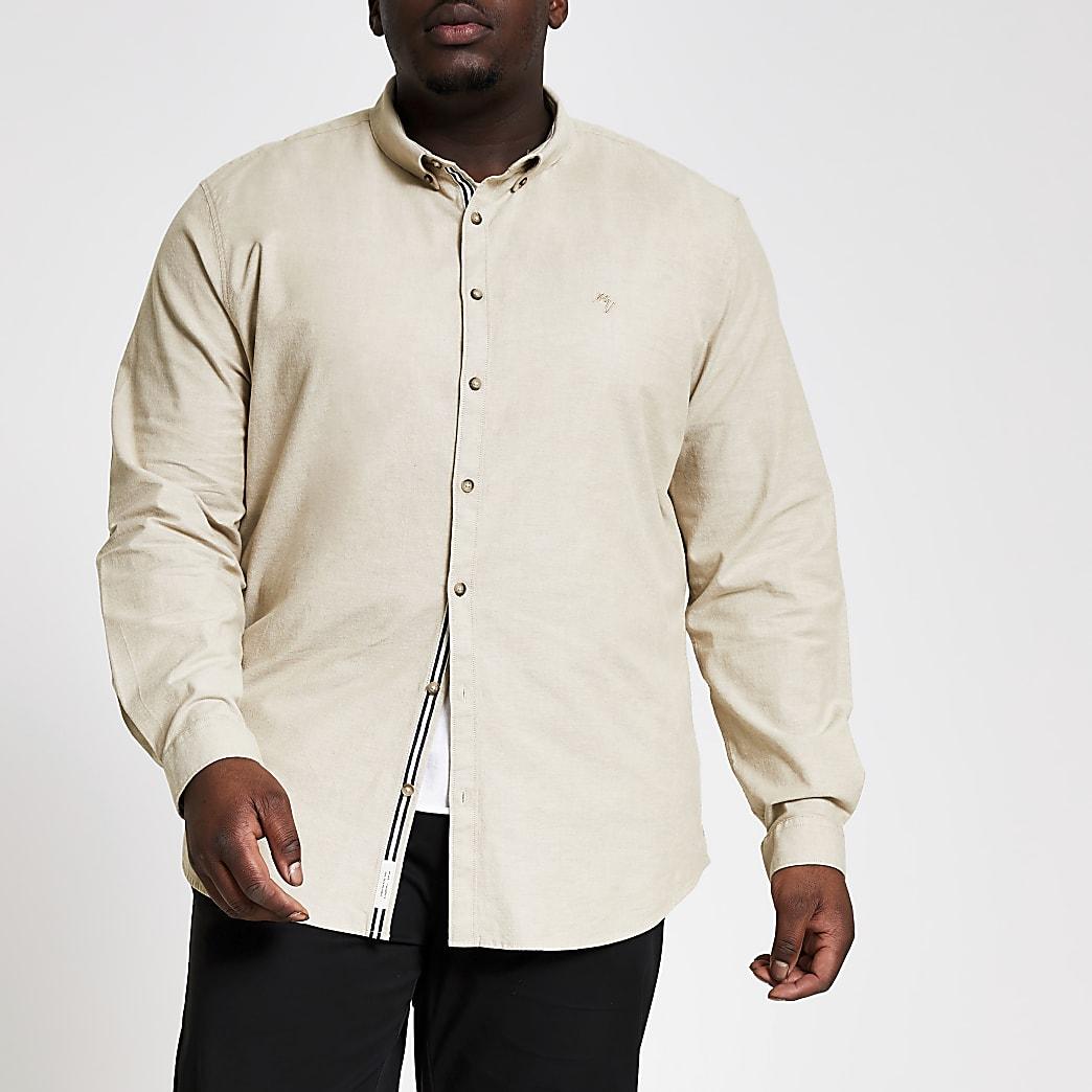 Big and Tall - Kiezelkleurig slim-fit Oxford overhemd