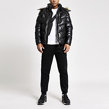 MCMLX black faux leather puffer jacket