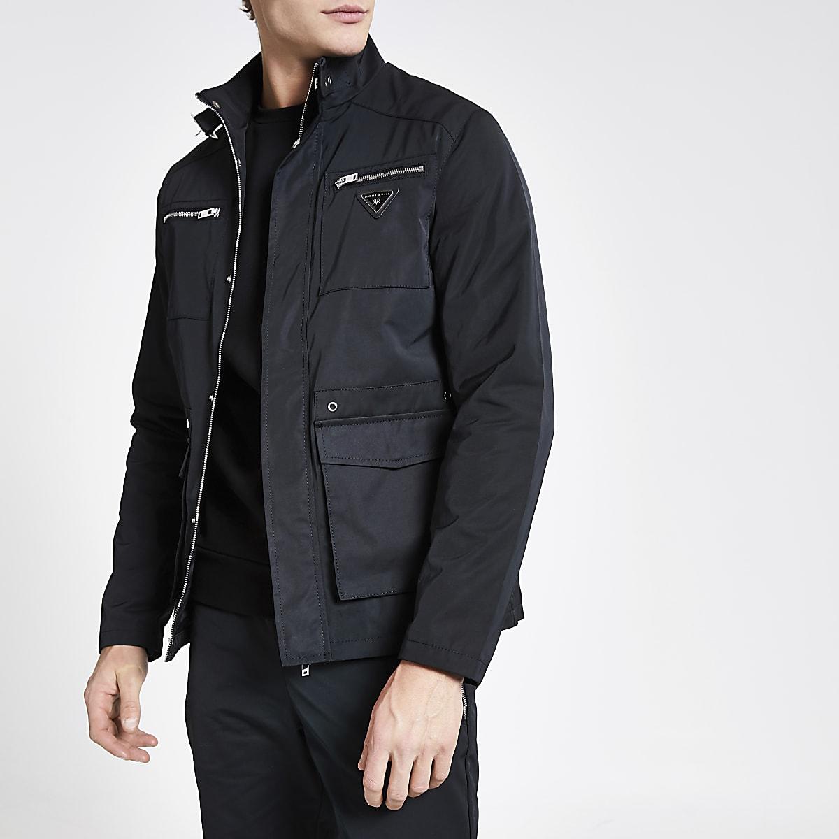 Black MCMLX longline racer jacket