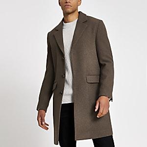 Einreihiger, klassischer Mantel in Braun