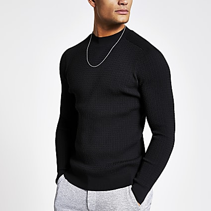 Black muscle fit cable knitted jumper