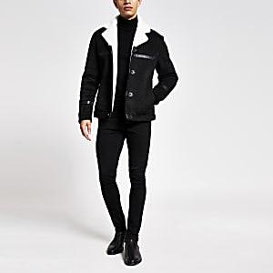 Zwarte imitatiesuède jas met imitatieschapenvacht