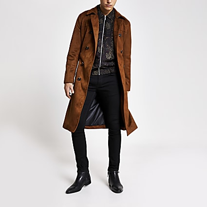Smart Western brown faux suede belted trench