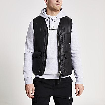 Black padded utility gilet jacket