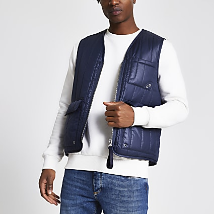 Navy padded utility gilet jacket
