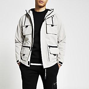 Veste utilitaire grège à capuche avec poches avant