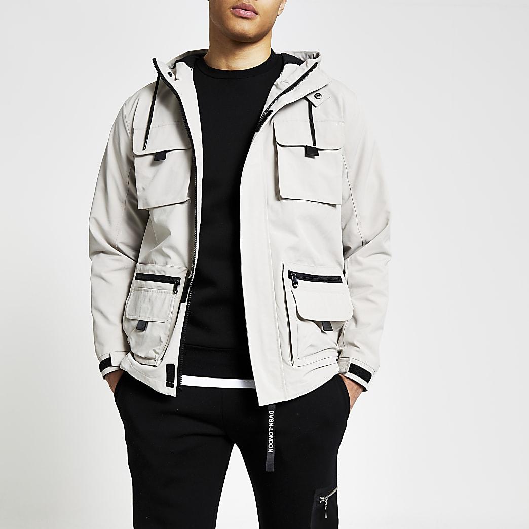 Stone hooded pocket front utility jacket