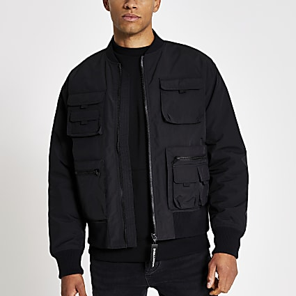 Black utility pocket bomber jacket