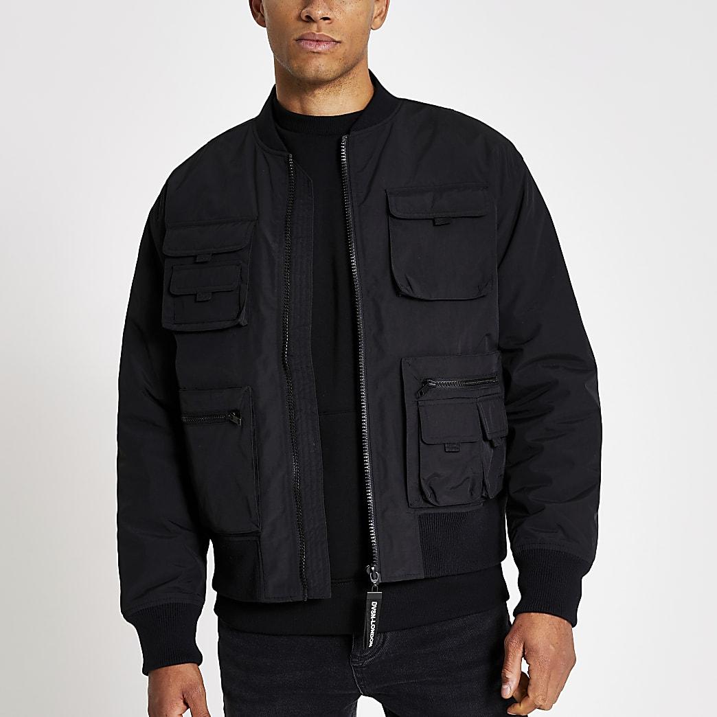 Black utility pocket bomber jacket