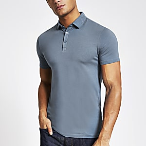 Blaues Muscle Fit Poloshirt