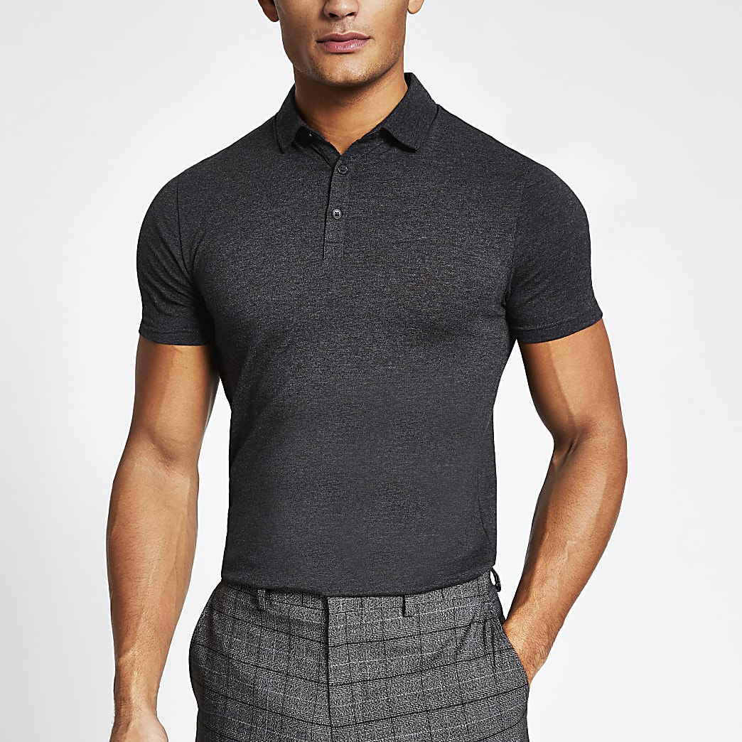 Dark grey essential muscle fit polo shirt