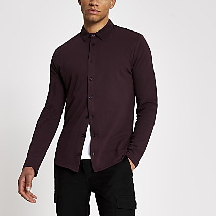 Dark red muscle fit pique polo shirt