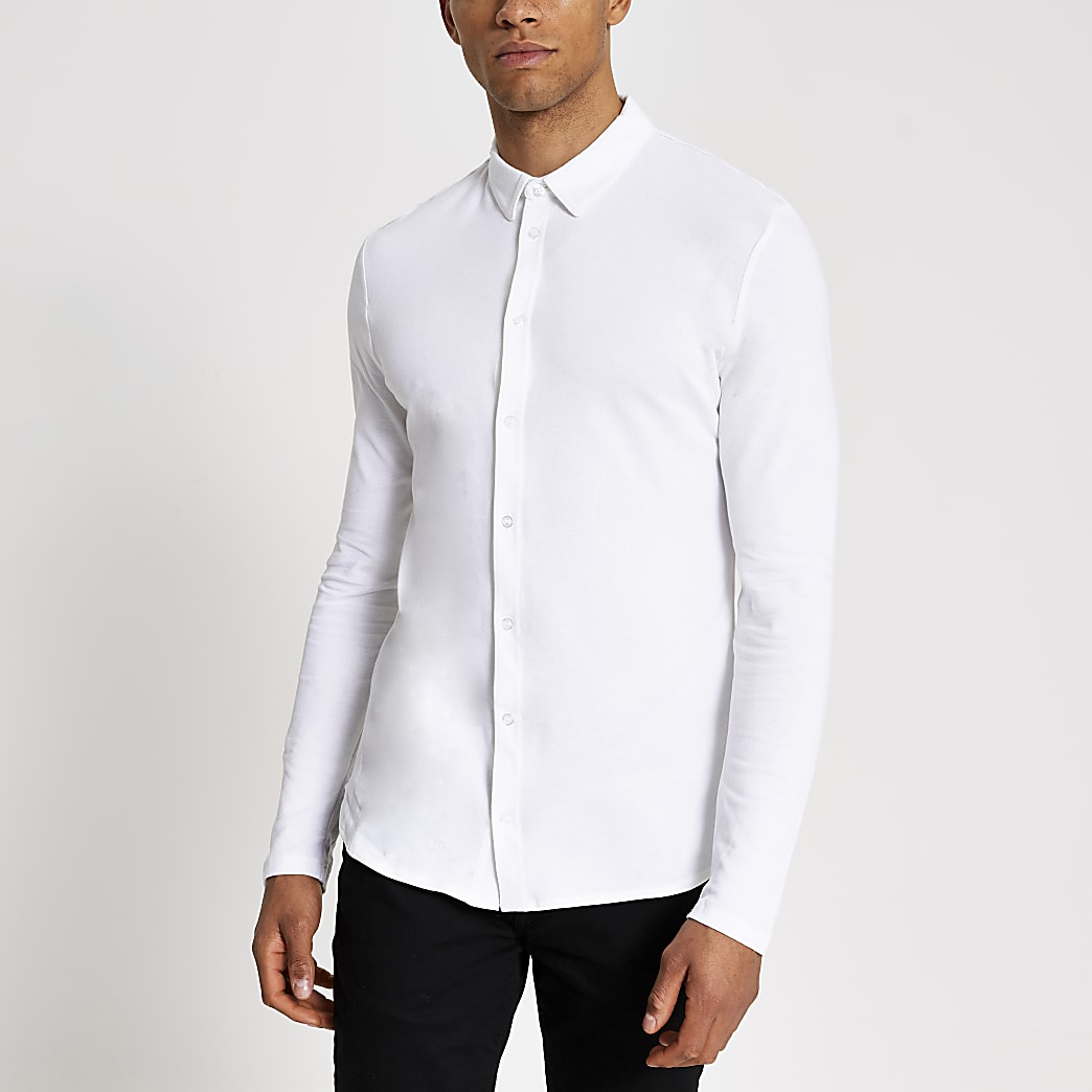 White muscle fit pique polo shirt