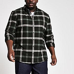 Big and Tall– Chemise classique noire à carreaux