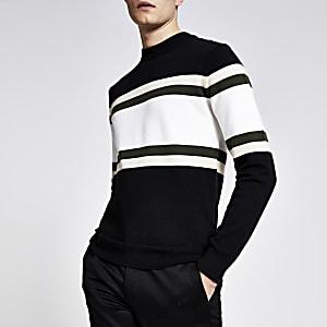 Zwarte gebreide slim-fit pullover met vlakken