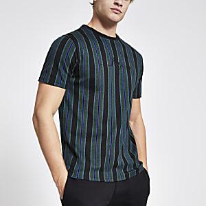 Maison Riviera – Schwarzes T-Shirt im Slim Fit mit Streifen