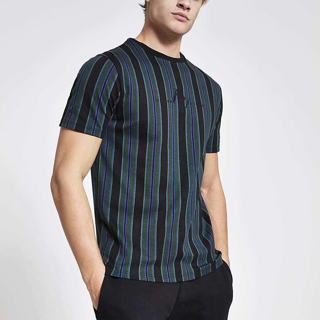 Maison Riviera - Zwart gestreept slim-fit T-shirt