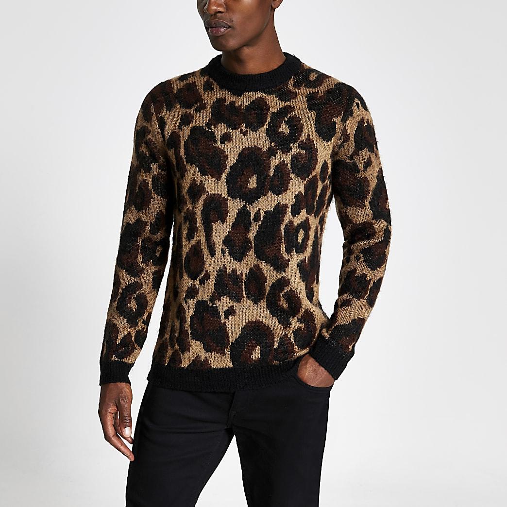 Bruine gebreide slim-fit pullover met luipaardprint