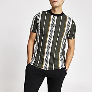 Slim Fit T-Shirt in Khaki mit Fischgrätstreifen