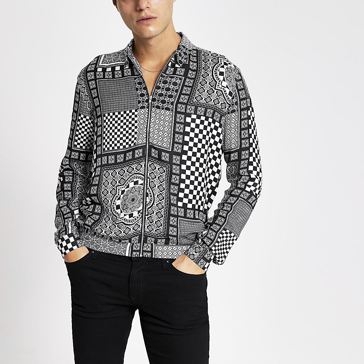 Black printed zip front regular fit shirt