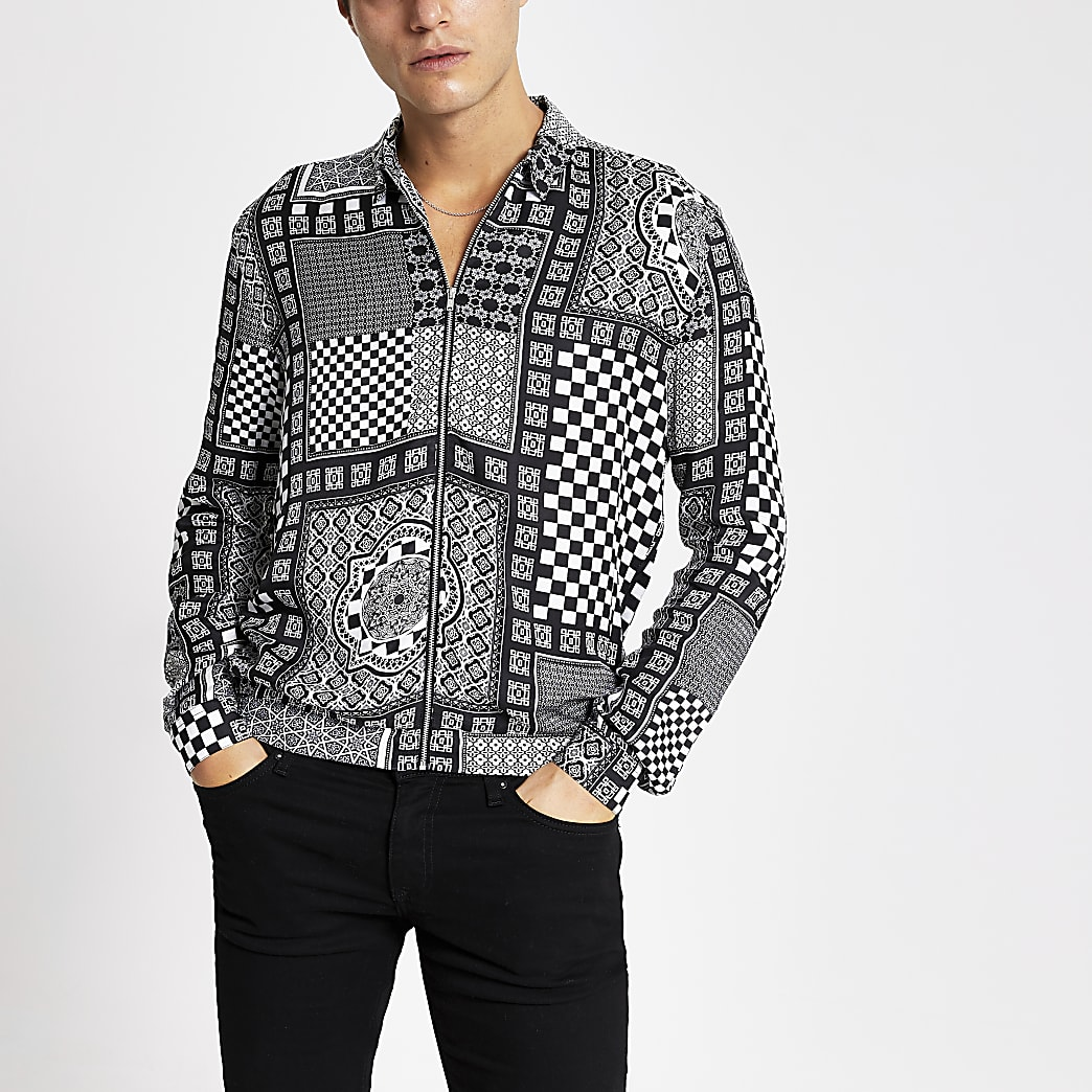 Smart Western black regular fit zip shirt