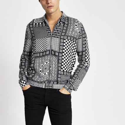 Black printed zip front regular fit shirt