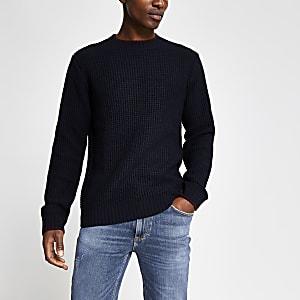 Marineblauwe contrasterend gebreide slim-fit pullover