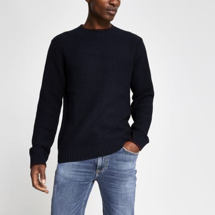 Navy slim fit tipped knitted jumper