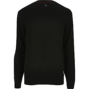 Zwarte gebreide slim-fit pullover met ronde hals
