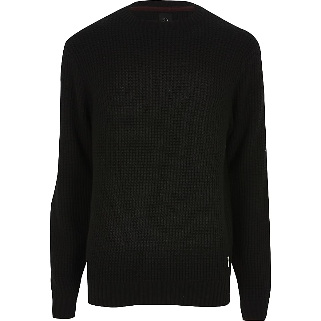 Black slim fit crew neck knitted jumper