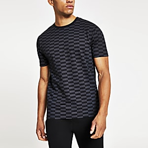 Schwarzes Slim Fit T-Shirt mit Karomuster