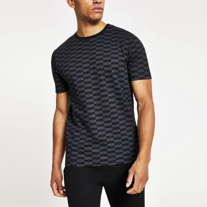 Black checkboard print slim fit T-shirt
