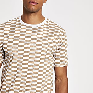 T-shirt Maison Riviera motif damier marron