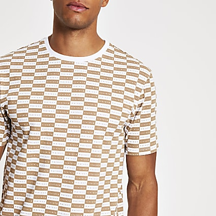Brown Maison Riviera checkboard T-shirt