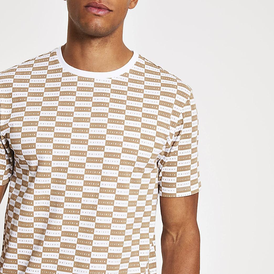 MaisonRiviera- Bruin T-shirt met dambordprint