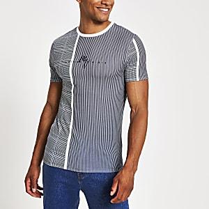 T-shirt ajusté Maison RIviera bleuà carreaux