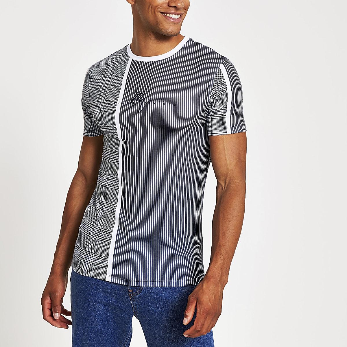 T-shirt ajusté à carreaux bleu «Maison Riviera »