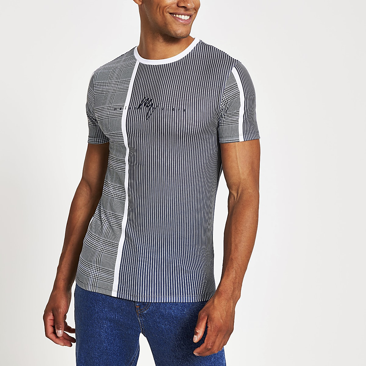 Maison Riviera - Blauw geruit strak T-shirt
