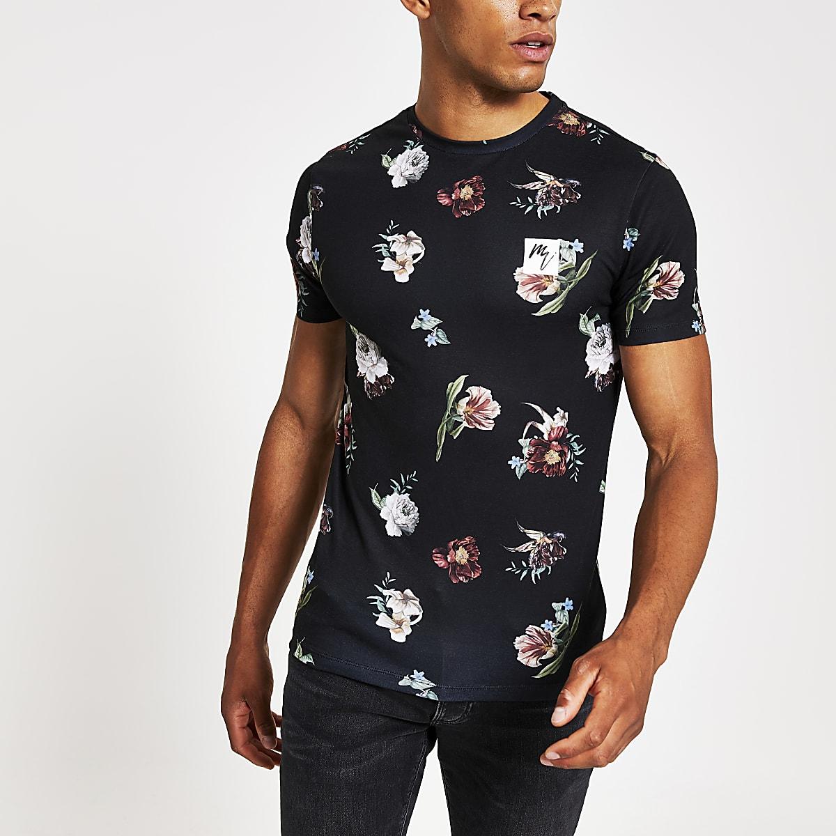 Maison Riviera - Zwartstrak T-shirt metbloemenprint