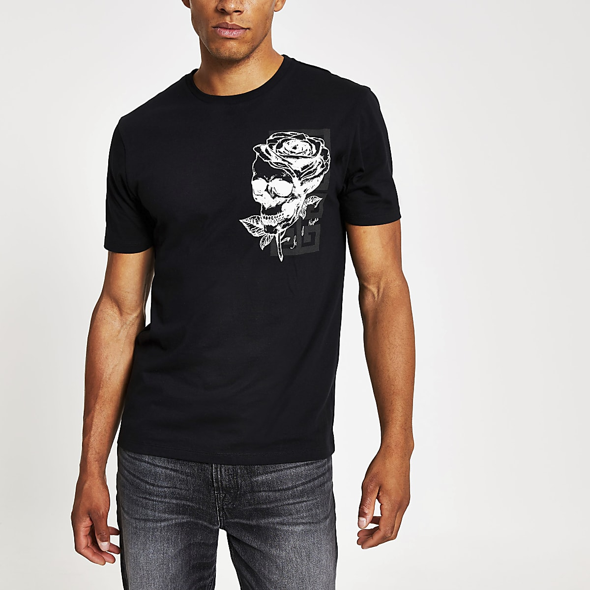 Black floral print slim fit T-shirt