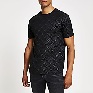 Zwart slim-fit T-shirt met print