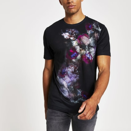 Black floral fade printed slim fit T-shirt