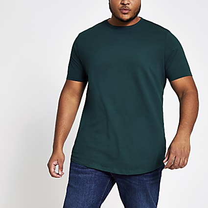 Big and Tall teal curve hem T-shirt